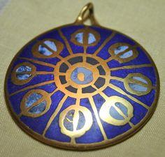 Vintage midcentury Moderne bronze pendant inlaid blue by lbjool, $48.00