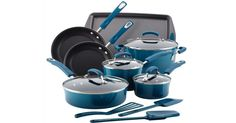 Rachael Ray 14 Piece Hard Enamel Nonstick Cookware Set Marine Blue -- You can find more details by visiting the image link. Enamel Cookware, Cast Iron Cookware, Cookware Set, Bakeware Sets, Kitchen Games, Kitchen Tools, Kitchen Stuff, Kitchen Appliances, Kitchen Ideas