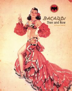 Bacardi was at the forefront of culture and innovation. The company's avant-garde posture is captured in this post-WWII era advertisement, The Rumbera, displaying the elegant and colorful character of Havana at the time — a global cultural hub. Vintage Cuba, Pub Vintage, Vintage Food, Pin Up, Charlie Chaplin, Havana Nights Party, Havana Party, Bacardi Rum, Rum Rum