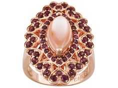 Timna Jewelry Collection(Tm) Marquise Pink Mother Of Pearl And 1.40ctw Round Rhodolite Copper Ring