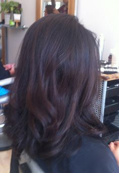 Long hair with layers & chocolate brown highlights