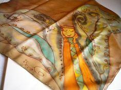 Handpainted silk scarves.     greenorange and by HelenaArtSilk, $30.00