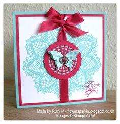 Flower Sparkle: Hello, Doily & Papillon Potpourri Thank You Card
