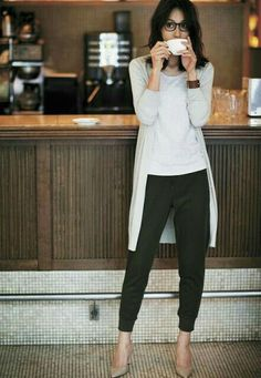 black joggers with casual tee and long cardigan.