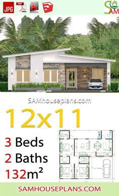 Bungalow Floor Plans, Modern Bungalow House, Home Design Floor Plans, Small Modern House Plans, Small House Design, Modern House Design, Model House Plan, Dream House Plans, 3d Foto