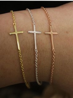 Sterling Silver, Rose Gold Plated, Gold Plated Dainty Plain Sideways Cross Bracelet, Everyday Wear. $15.95, via Etsy.