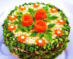 How to cook the recipe salad cake chicken liver Cute Food, Good Food, Sandwich Torte, Appetizer Recipes, Appetizers, Salad Cake, Party Sandwiches, Food Carving, Food Garnishes