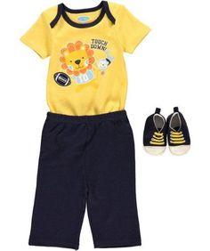 Baby Boys Yellow Football Touchdown 3 piece Set 0-3, 3-6 or 6-9 months  #bonbb #Everyday