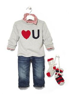 "Boys ""Love you"" sweater, ribbed socks, dark wash selvage jeans Baby Clothing