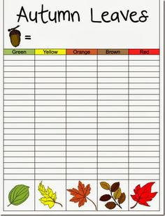 Free printable for My Father's World Kindergarten - Autumn leaf graph