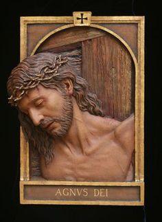 Fourteen Stations of the Cross Sculpture,Catholic Art,Koh-Varilla Guild Chicago Catholic Art, Catholic Saints, Religious Art, Carved Wood Wall Art, Wood Carving Art, Sculpture Art, Sculptures, King Picture, Jesus E Maria
