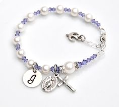 Personalized Rosary Bracelet for Girls - Catholic Confirmation Gift - Tanzanite Purple - Swarovski Pearls - Sterling Hand Stamped Initial by RosariesOfLove on Etsy