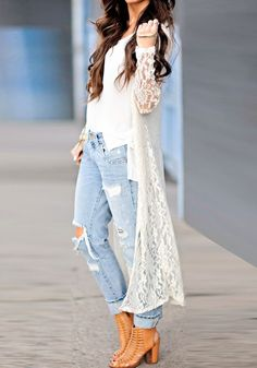 White Lace Cardigan - Semi-Sheer All Over