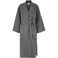 Loewe Grey Wool And Cashmere Blend Coat - Size M (8.670 RON) ❤ liked on Polyvore featuring outerwear, coats, reversible wool coat, loewe, oversized wool coat, gray wool coat and gray coats