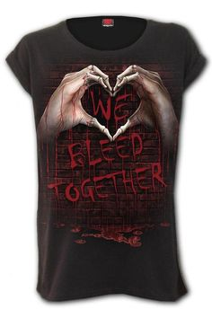 We Bleed Together - Turnup ... Gothic Tops, Loose Fitting Tops, Tees, Sleeves, T Shirt, Cotton, Clothes, T Shirts, Supreme T Shirt