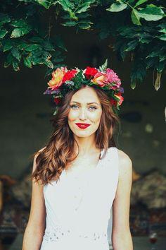 Bride in bright boho flower crown | SouthBound Bride www.southboundbride.com/misty-bohemian-wedding-at-corrie-lynn-farm-by-duane-smith-michane-nic Credit: Duane Smith