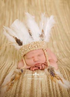 Newborn Indian headdress/Photography Prop/Made to order/Free Shipping. $35.00, via Etsy.