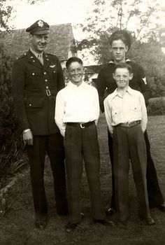 All the brothers, Maurice, Ralph, Bill and Ron, 1945, Bridgeport, Texas