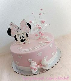 Minnie Mouse cake by Mischell Mini Mouse Birthday Cake, 1st Birthday Cake For Girls, Minnie Mouse First Birthday, Baby Birthday Cakes, Mickey Birthday, Minnie Mouse Theme Party, Minni Mouse Cake, Mickey Mouse Cupcakes, Mickey Cakes