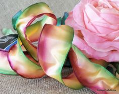 """Sorbet"" Mauve, Peach, and Green Ombre Wired Ribbon, 1 1/2"" wide. Excellent for making ribbon flowers."