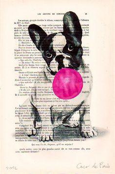 Original Illustration Digital Print Mixed Media Art Poster Acrylic Painting Holiday Decor Drawing Gift: French bulldog with bubblegum. $10.00, via Etsy.