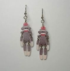 Sock Monkey Jointed Dangle Earrings Handcrafted Novelty Made in USA Buy It Now $8.79