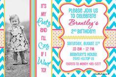 Chevron and Polka Dot Birthday Invitation Print Your Own $15 #Chevron #PolkaDot #BirthdayInvitation