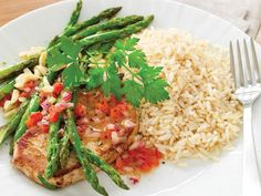 Oven-Roasted Asparagus With Pork Chops #health #diabetes #lifestyle