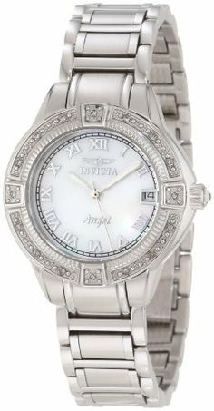 Invicta Women's 12804 Angel Mother-Of-Pearl Dial Diamond Accented Watch Invicta. $99.99. Mother of Pearl Dial with Silver Tone Hands and Roman Numerals; Luminous; 16 White Diamonds Set on Bezel; Stainless Steel Crown with Clear Crystal Cabochon. Flame-fusion crystal; stainless steel case and bracelet. Water-resistant to 100 M (330 feet). Swiss Quartz Movement. Date function at 3:00. Save 89% Off!