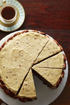 """Chocolate Brown Sugar Cake with Spiced Pumpkin Frosting- Dress up a traditional chocolate cake with a homemade icing that pretty much screams """"foodgasm in your mouth."""" Get more pumpkin dessert ideas at redbookmag.com and click through for the full recipe."""