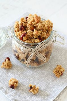 Crunchy Homemade Almond, Cranberry & Coconut Oil Granola - Bake Play Smile