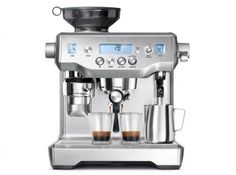 Breville Oracle™ Espresso Machine — $1,999.95. The Oracle™ creates café quality coffee that tastes like you'd get in your favorite café. The Oracle™ has automatic grinding, dosing, tamping and milk texturing, automating the two most difficult parts of manual espresso. You can extract espresso and texture milk simultaneously, enabling you to go from beans to latte in under a minute. Auto & Mess Free - The integrated conical burr grinder automatically grinds, doses and tamps 22 g ...