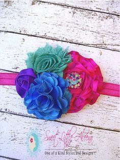 SALE Baby Girls Peacock Flower Headband,Infant Hair Bows, Clips, Newborn Photo Prop