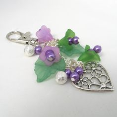 Purse Charm in Purple and Green Flowers with Silver by adiencrafts, $10.00