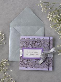 custom listing 100 grey lace wedding invitation pocket fold wedding invitations lavender