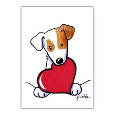 Jack Russell Terrier Dog ACEO Original Art Ebsq by KiniArt on Etsy