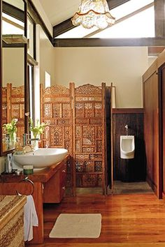 8 Things to Love About This Rustic Filipino Home in Antipolo Asian Interior Design, Filipino Interior Design, Asian Furniture, Tropical Bathroom, Philippine Houses, House Smells, Waterfall House, Asian Inspired Decor, Colonial House