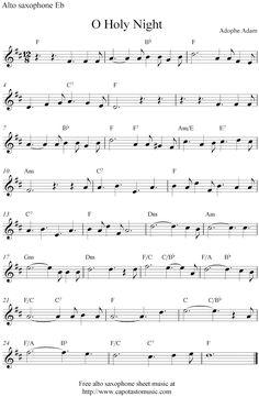Free Sheet Music Scores: O Holy Night, free Christmas alto saxophone sheet music notes