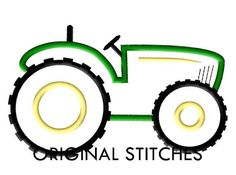 Tractor Applique and Embroidery Digital Design by OriginalStitches