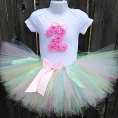 Pastel Birthday Tutu Set and Matching Headband | Pink, Blue, Yellow, Green Pastel Birthday Outfit | First Birthday, Second Birthday by Zobows on Etsy