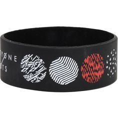 Twenty One Pilots Blurryface Rubber Bracelet Hot Topic ($7) ❤ liked on Polyvore featuring jewelry, bracelets, black bangles, roaring twenties jewelry, 1920s jewelry, 1920s style jewelry and rubber jewelry