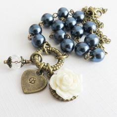 Navy Blue Flower Girl Necklaces, Personalized Jewelry, Rustic Wedding Jewelry, White Rose Jewelry, Bridal Party Gift, Little Girl Necklaces
