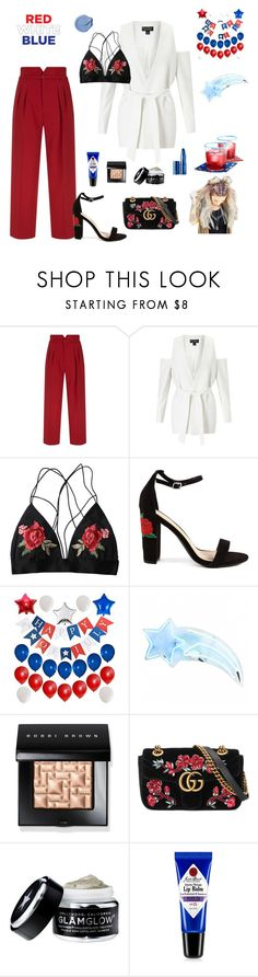 """Untitled #32"" by andreeapink ❤ liked on Polyvore featuring RED Valentino, Miss Selfridge, Bobbi Brown Cosmetics, Gucci, GlamGlow, Jack Black and Lipstick Queen"