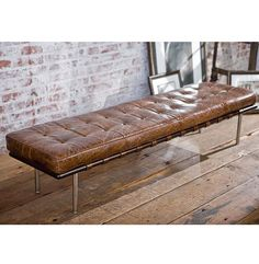 Bennet Rustic Lodge Tufted Brown Leather Bench   Kathy Kuo Home