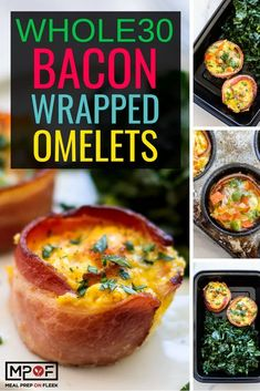 You'll love how moist and flavorful these bacon wrapped omelets are! The bacon crisps around the edges and keeps these baked omelets from drying out while baking. Serve with a massaged kale salad for a veggie and protein packed breakfast. Low Carb Dinner Recipes, Lunch Recipes, Breakfast Recipes, Breakfast Ideas, Healthy Recipes, Keto Recipes, Easy Recipes, Breakfast Muffins, Breakfast Club