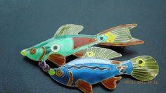 Zarah Sterling Silver Enamel Fish Pin Brooch   eBay