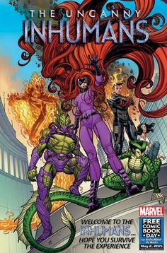 Uncanny Inhumans - Medusa, Inferno, Naja, Triton, Iso, and Johnny Storm by Nick Bradshaw *