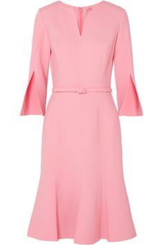 Oscar de la Renta - Belted wool-blend dress at Net A Porter Crepe Dress, Ruffle Dress, Baby Dress, Pink Dress, Dress Up, Pink Fashion, Fashion Dresses, Rosa Style, Figure Flattering Dresses