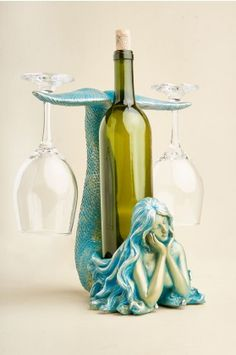 Mermaid Wine Bottle Holder - Earthbound Trading Co. Mermaid Wine Bottle Holder - Earthbound Trading Co. Mermaid Bathroom Decor, Mermaid Home Decor, Fresh To Go, Wine Bottle Holders, Wine Bottles, In Vino Veritas, Mermaid Art, Mermaid Glass, Room Accessories