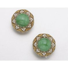 TWO-COLOR 18K GOLD, JADE AND DIAMOND EARCLIPS, BUCCELLATI